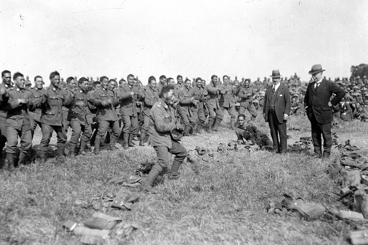 Maori soldiers of a pioneer battalion performing the Haka for New Zealand Prime Minister William Massey, on the Western Front