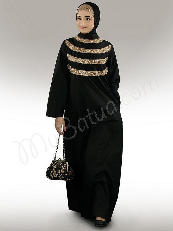 Seemeen Black Cotton Abaya!   Style No: Ay-238   Shopping Link :  http://www.mybatua.com/seemeen-black-cotton-abaya Available Sizes XS to 7XL (size chart: http://www.mybatua.com/size-chart/#ABAYA/JILBAB)   •A-line abaya with zip closure at back.  •Band collar with machine hand embroidered patch srtips.  •Utility pockets on both sides. Straight sleeves.  •Matching Hijab and Band can be bought sepearately.  •Colour: Black  •Fabric: Poplin (100% Cotton) •Care: Dry Clean