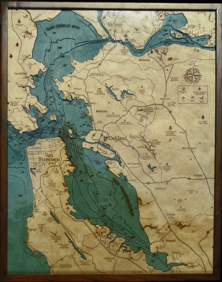 San Francisco Map Store%0A SF Bay Area  CA Wood Map
