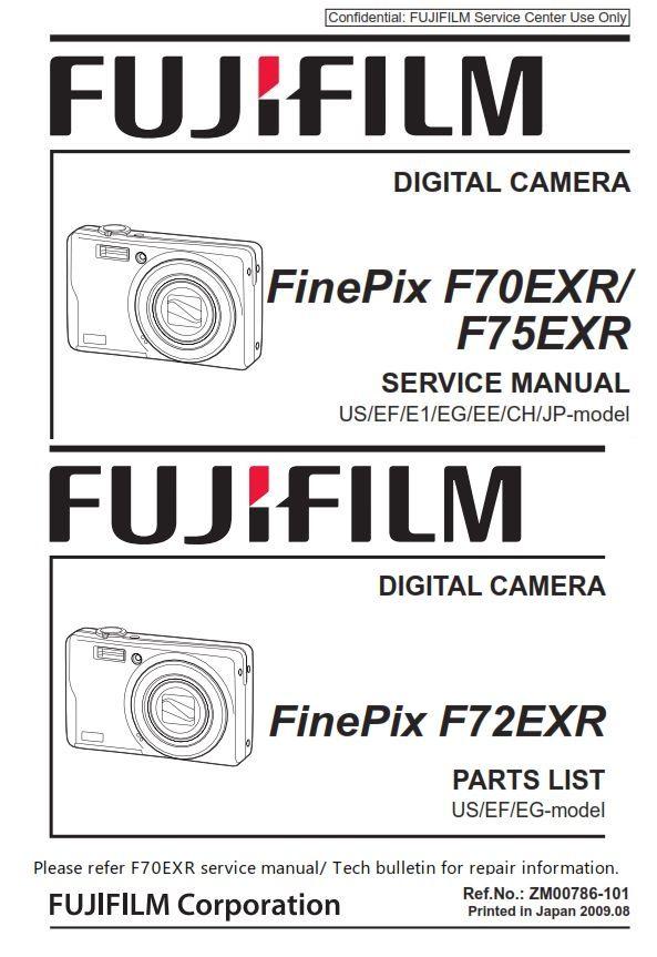 Fujifilm Finepix F70exr F72exr F75exr Digital Camera Service Manual Repair Guide Fujifilm Finepix Finepix Repair Guide