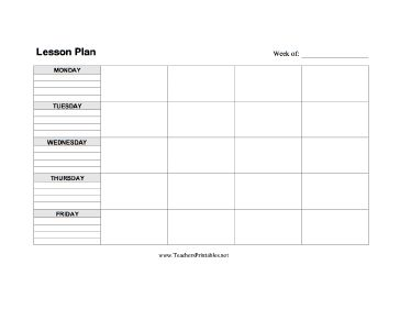 A blank, five-day lesson plan template in horizontal format. Free to download and print