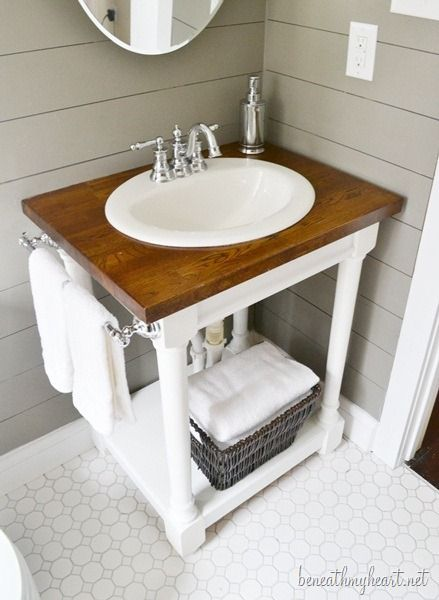 build your own butcher block vanity. Think about this for kids bathroom, double sink etc