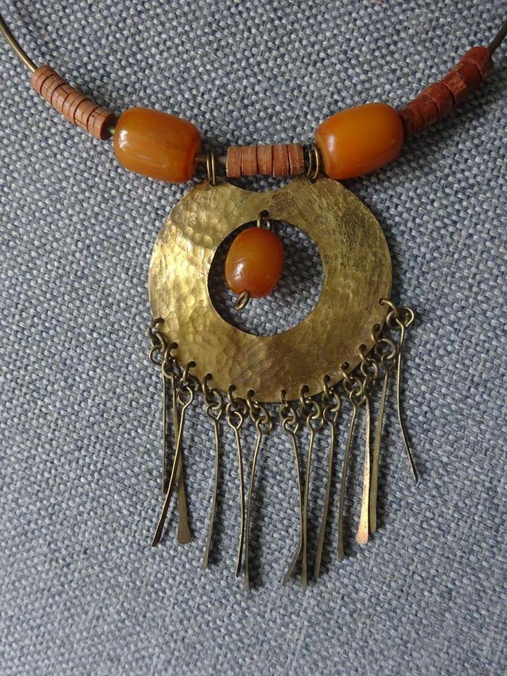 Koperen ketting met Tibetaanse barnsteen-amber - Ketting koper amber 50-2.jpg