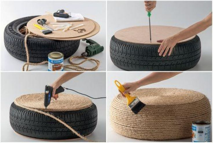 Ottoman from old tire