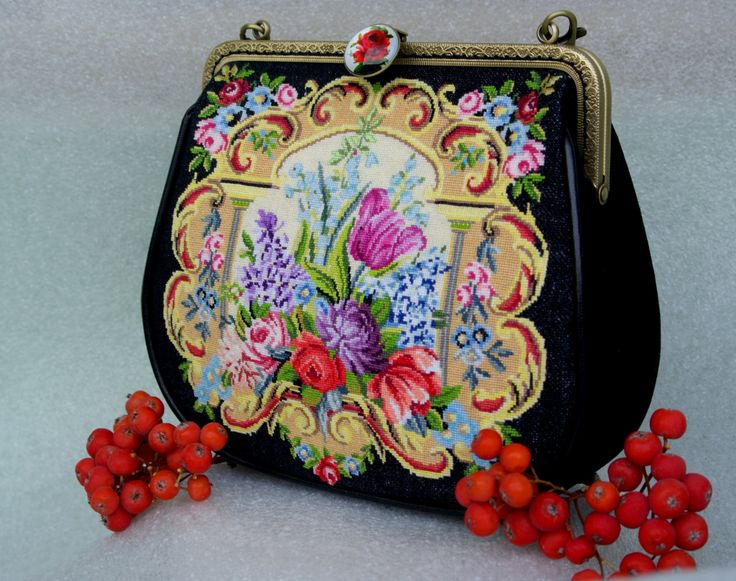 Evening handbag, EMBROIDERED BAG, Suede bag, Top Handle Bags, classical bag, flower bag, clutch clasp bag by Yourembroidereddream on Etsy