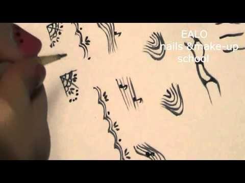 Учимся рисовать линии и завитки (вензеля) часть 1 ,роспись ногтей - YouTube
