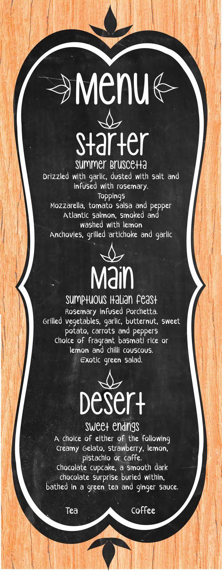 Fun Rustic Dinner menu Design  #menu #menudesign