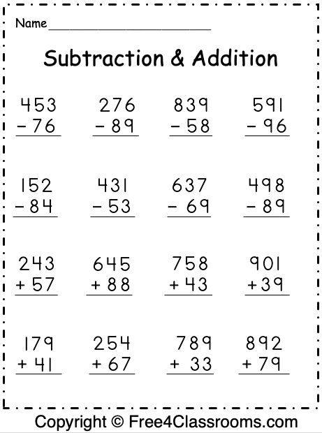 Pin on Free Mixed Addition and Subtraction Worksheets