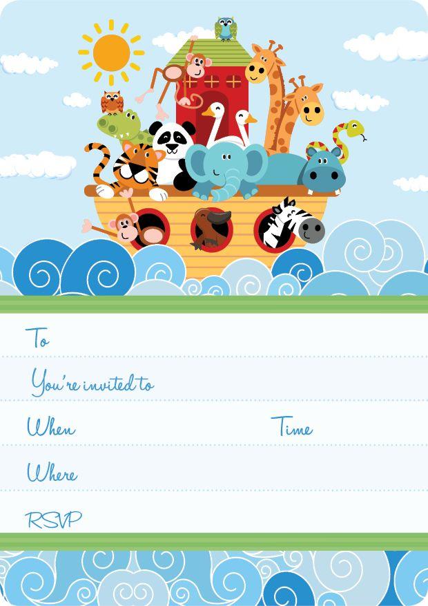 Noah's Ark Kids Party | The Ark Invite Set- 15 invites + coordinating envelopes + magnets $17.50 Shop for it http://www.partymama.com.au/girls-invitations-the-ark-invite-set-p-13.html