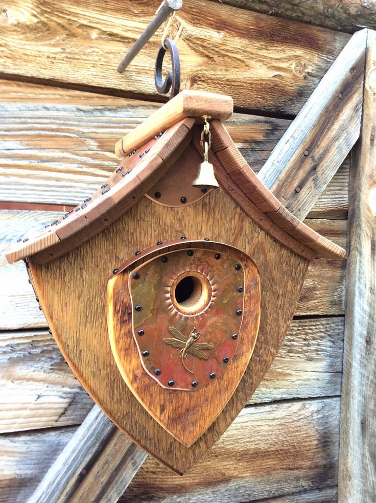 Unique Barnwood Birdhouse Dragonfly Hanging Abode Wedding Gift Reclaimed Recycled #1258 by CampbellWoodworks on Etsy https://www.etsy.com/listing/248177144/unique-barnwood-birdhouse-dragonfly