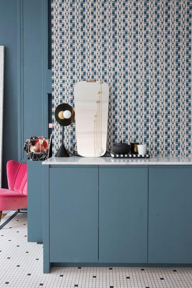 Les 25 meilleures id es concernant papier peint bleu - Appartement decoration design glamour vuong ...