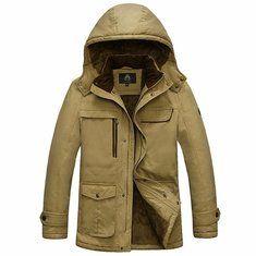 AFSJEEP Velvet Plus Thick Warm Detachable Hood Cotton Men Winter Jacket Parkas
