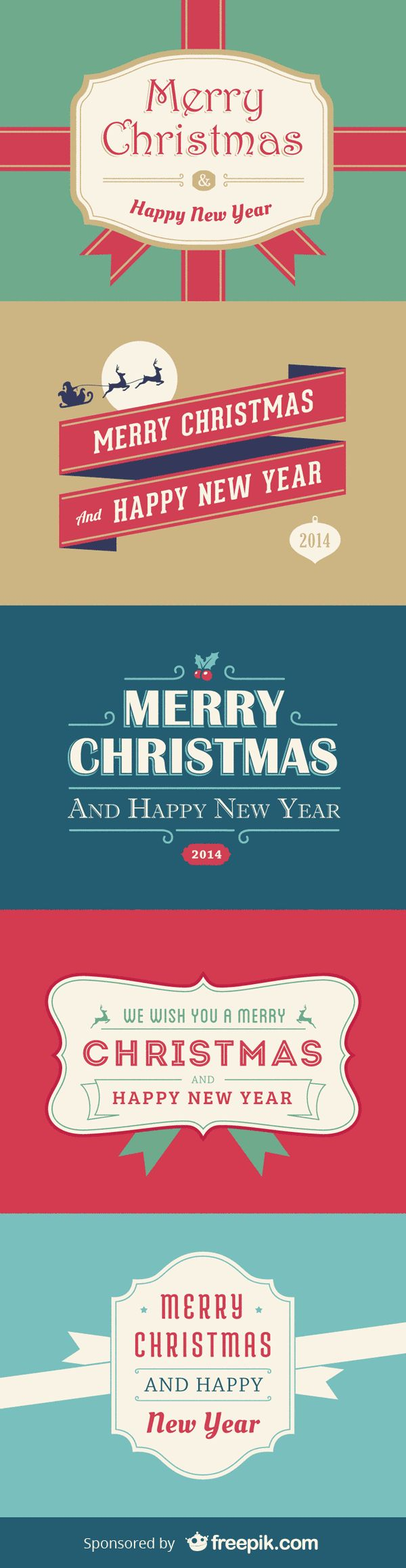 5 Christmas And New Year Cards | GraphicBurger