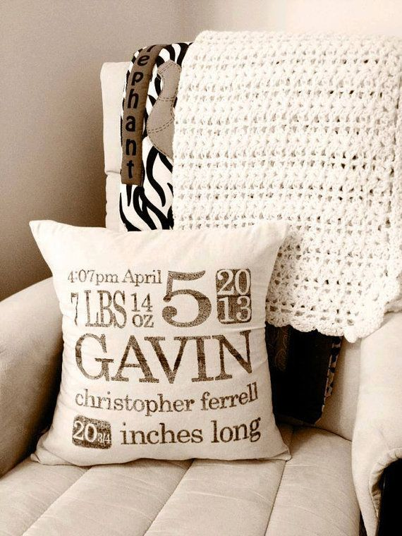 Personalized Birth Stats 16 x 16 Pillow by ParrisChicBoutique, $20.00...for the baby's room!