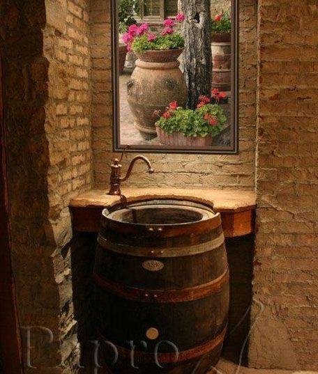 tonel lavabo rustico