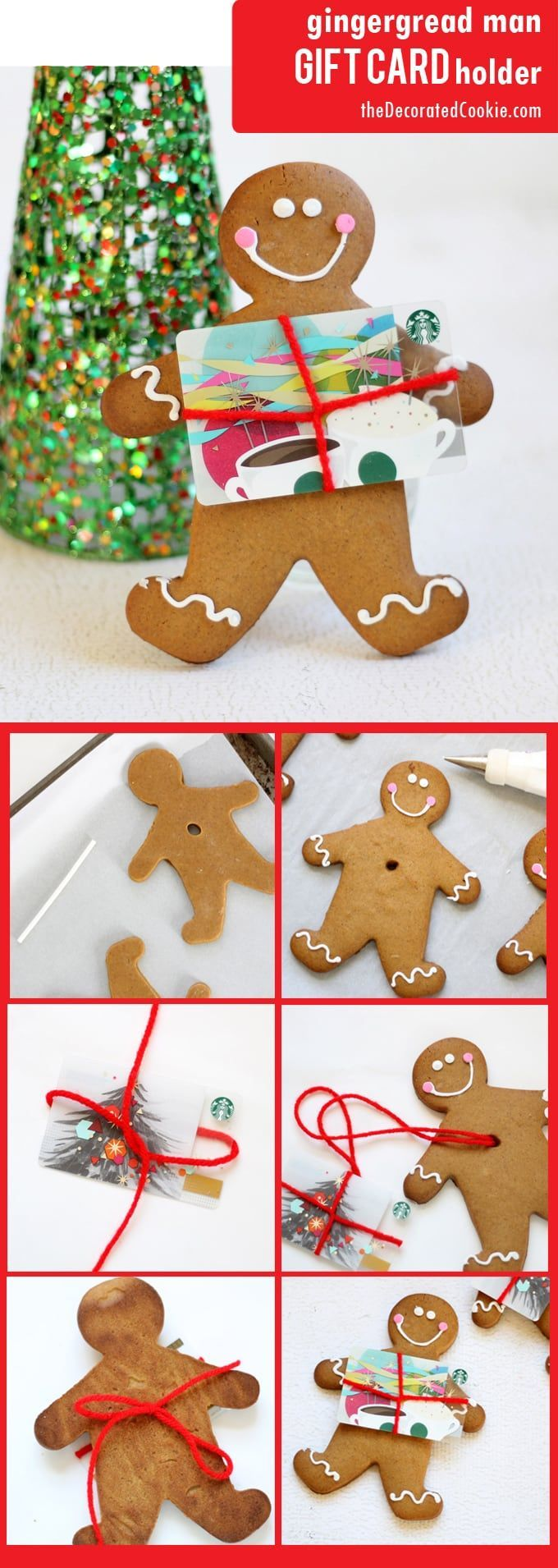 Gingerbread man cookie gift card holder! Makes gift cards less boring. Personalized Christmas gift idea.