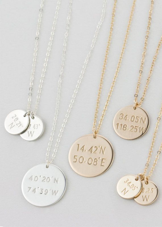 Coordinates Disc Necklace Custom Latitude & by LayeredAndLong. They'll stamp the coordinates of your favorite place <3