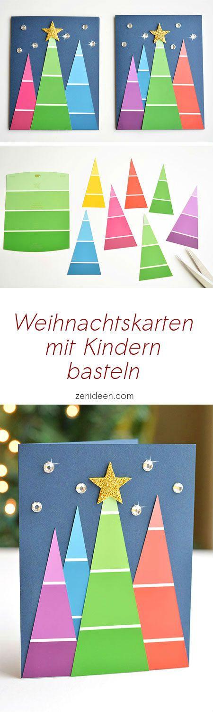 Ideen für Weihnachtskarten mit Kindern basteln