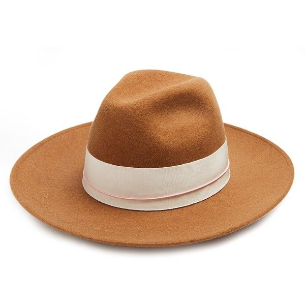 Federica Moretti Bee wool-felt fedora hat ($119) ❤ liked on Polyvore featuring accessories and hats