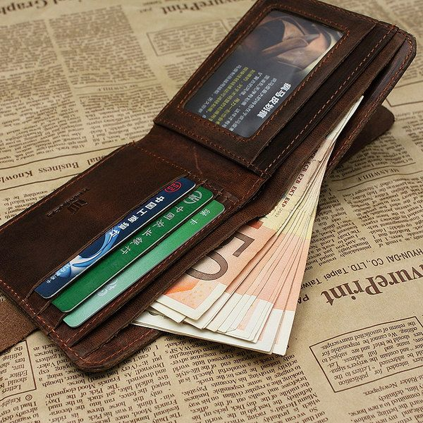 Handmade Crazy Horse Leather Wallet-leather Wallet-men Wallet-Leisure Wallet-Personality Wallet-Shor on Luulla