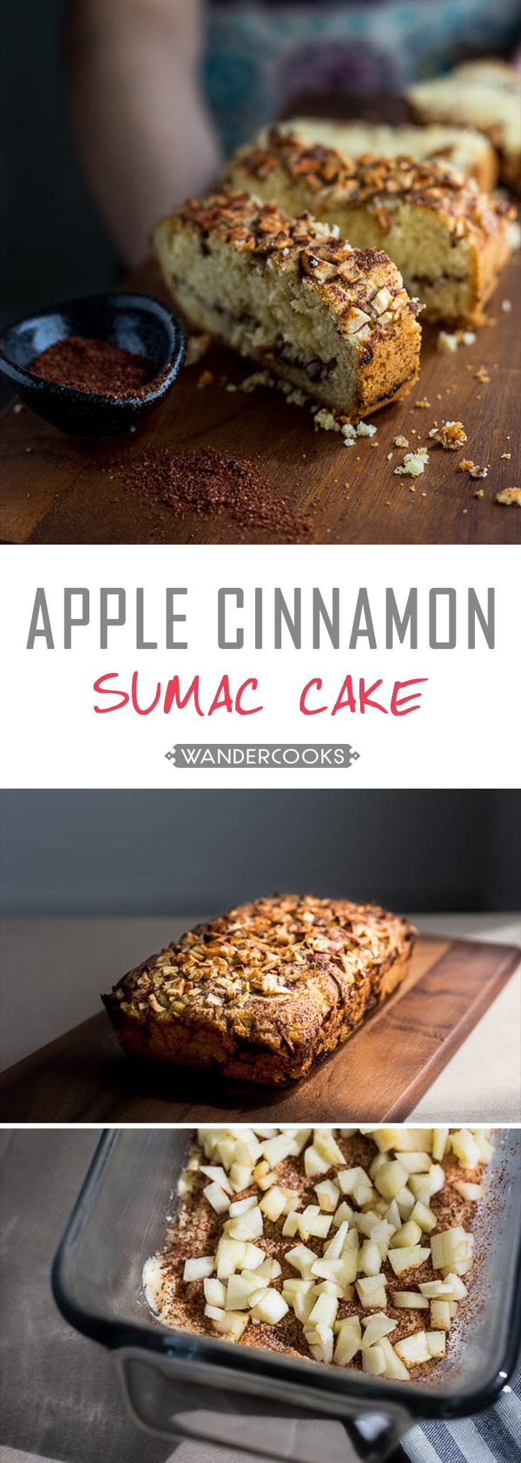 Spiced Apple Cinnamon Sumac Cake - Inspired by a Bulgarian dessert, sumac and apple are the PERFECT pair in this sweet baked treat. Vegetarian. | wandercooks.com