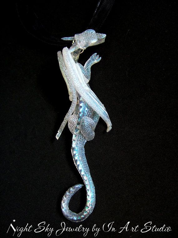 Dragon Pendant Necklace  Winged Dragon Jewelry in by InArtStudio, $59.00