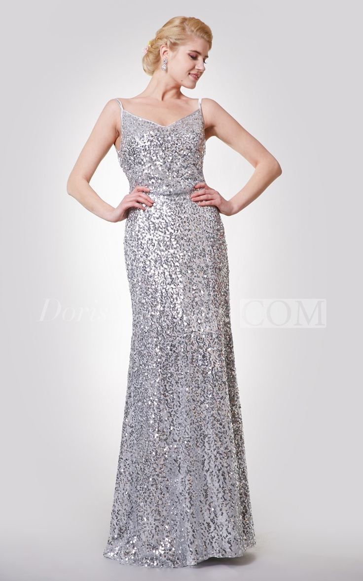 Unique Spaghetti Straps V-neck Sequined Long Prom Dress 2016. Sequin prom dress, beaded prom dress, vintage prom dress 2016, two-pieces prom dress, satin prom dress, long prom dress, elegant prom dress, follow us to get more special offer! #DorisWedding.com