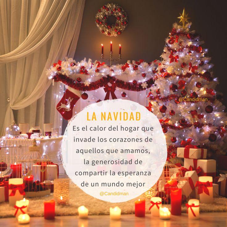 La Navidad es el calor del hogar que invade los corazones de aquellos que amamos la generosidad de compartir la esperanza de un mundo mejor.  @Candidman     #Frases Calor Candidman Canva Corazones Esperanza Generosidad Hogar Mundo Navidad Navideña Reflexión @candidman
