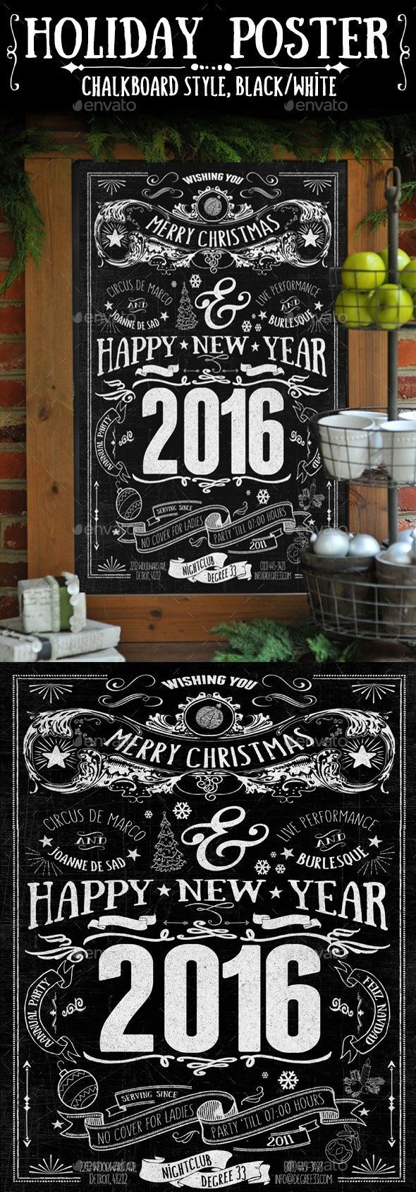 images about new year party flyer templates chalkboard style holiday poster typography flyer templateposter