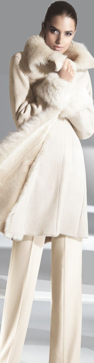 Madeleine ~ sexy, creamy winter white lambskin coat. Embrace me!