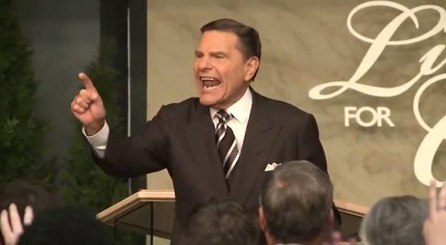 "Popular televangelist Kenneth Copeland ""slays the demon virus Ebola"" by speaking in tongues."