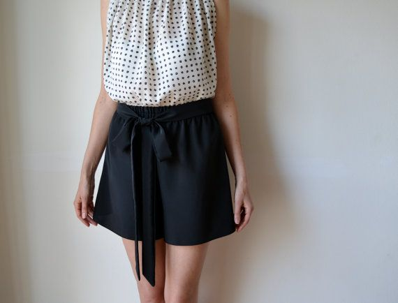 Black silky elegant culottes, shorts. Loose fit, high waisted, wide leg. Made to order.
