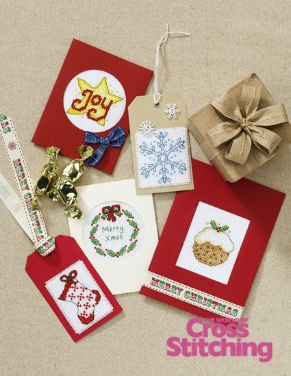 Design Library, Christmas cross stitch charts by The World of Cross Stitching, issue 197. Great for cards, tags and festive gifts!