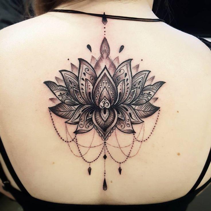 Girls Mandala back tattoo by Fede – Soular Tattoo N.Z