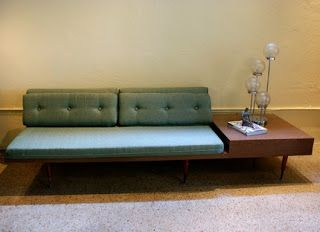 195039s retro sofa with side table attached for the home for Sectional sofa with table attached