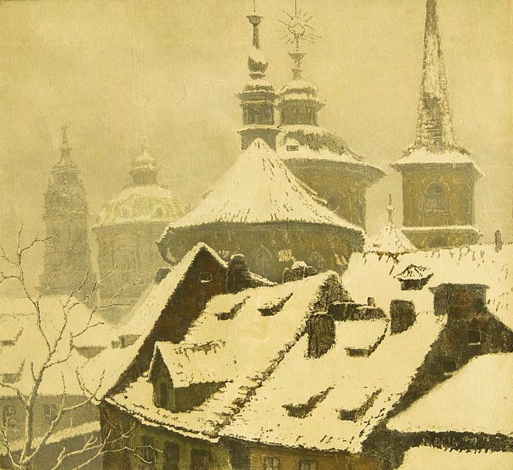 Jaromir Stretti-Zamponi (1882- 1959) - Prague Roofs under Snow