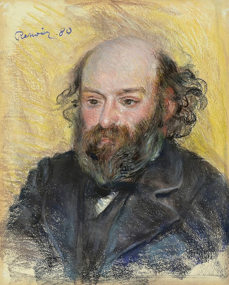 Pierre-Auguste Renoir (1841-1919) Portrait of Cezanne (PORTRAIT DE CÉZANNE), 1880. Pastel on paper, 53.7 x 43.5 cm. Private Collection.: