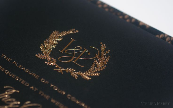 Foil Stamped Monogram on a Luxury Wedding Invitation