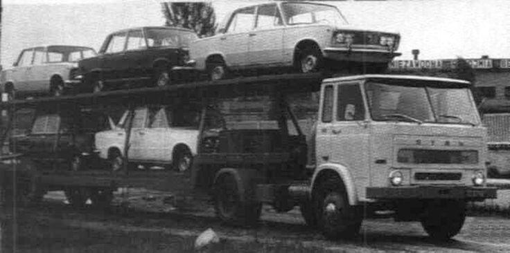 STAR 28 als Satelzug Autotransporter mit Ladung Polski FIAT 125p.