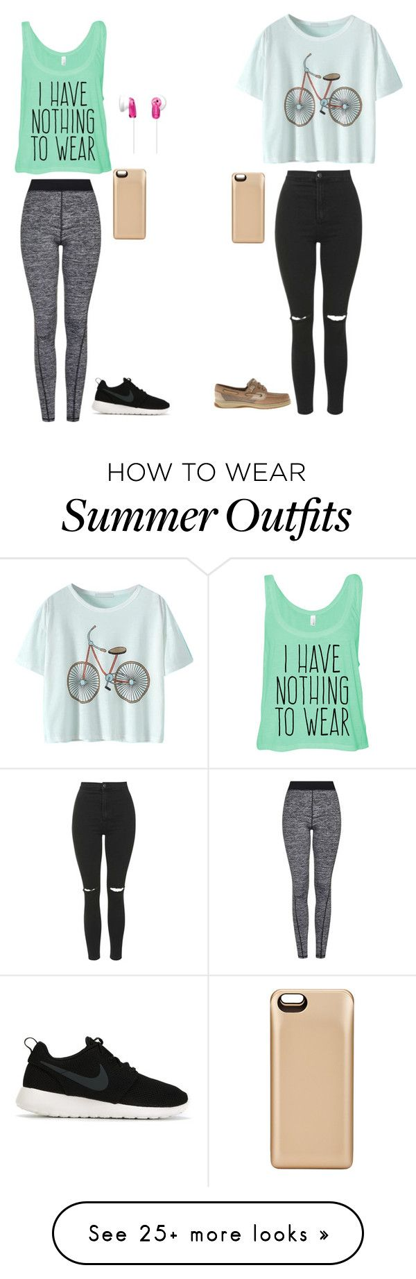 """""""work out / normal casual day"""" by wildkate on Polyvore featuring Topshop, NIKE, Sperry Top-Sider, Boostcase and Sony"""