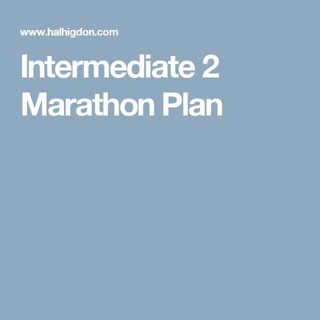 Intermediate 2 Marathon Plan