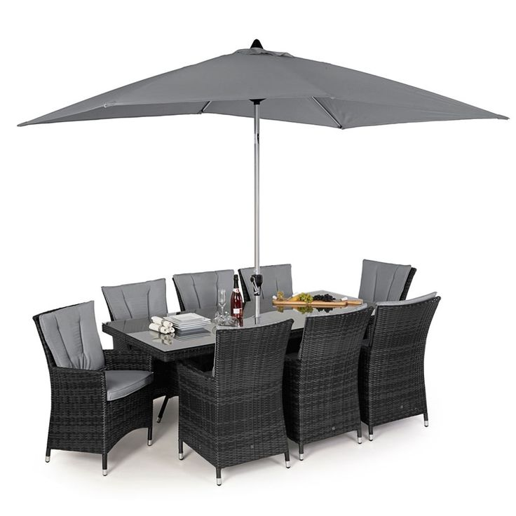 The perfect set for entertaining. In a contemporary grey synthetic weave the Maze Rattan LA 8 Seat Rectangular comprises of a 2m table and 8 LA highback chairs complete with back and seat cushions for a comfortable dining experience. Virtually maintenance free, this set can be left outside all year round (we do suggest you bring the cushions indoors.)