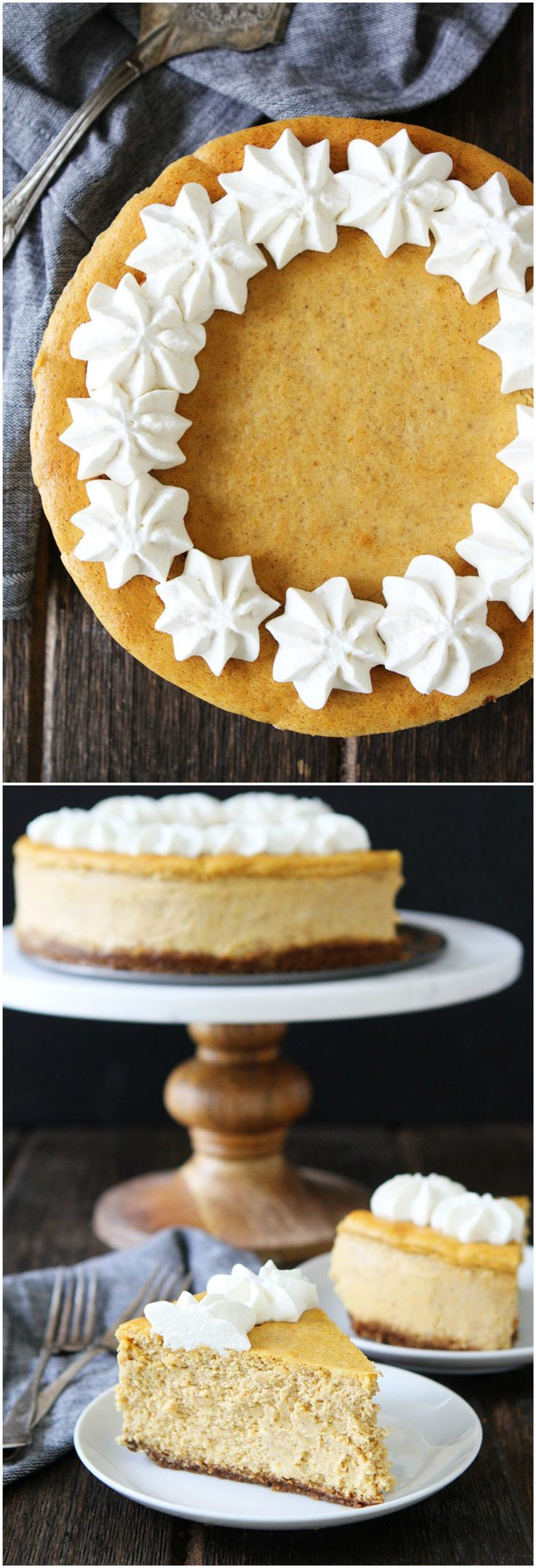 Pumpkin Cheesecake with Brown Butter Gingersnap Crust Recipe on twopeasandtheirpod.com This is the BEST cheesecake ever and it's easy to make too! It is the perfect dessert for Thanksgiving!