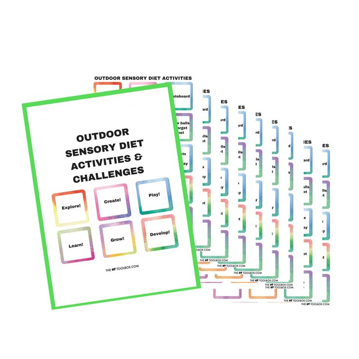 The Outdoor Sensory Diet Cards and Sensory Challenge Cards encourages sensory diet strategies in the outdoors.  The printable packet includes 90 outdoor sensory diet activities, 60 outdoor recess sensory diet activities, 30 blank sensory diet cards and 6 sensory challenge cards.