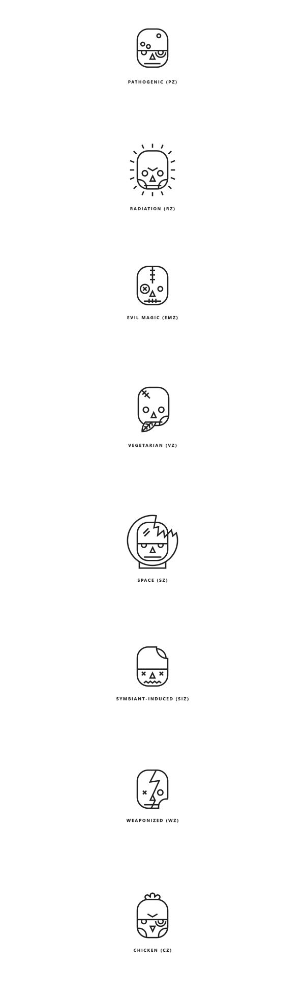 Zombie pictograms for Esquire by Ooli Mos, via Behance