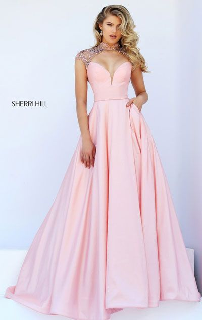 2016 High Neckline Cap Sleeves Blush Beaded Patterned Cutout Long Satin Prom Dresses
