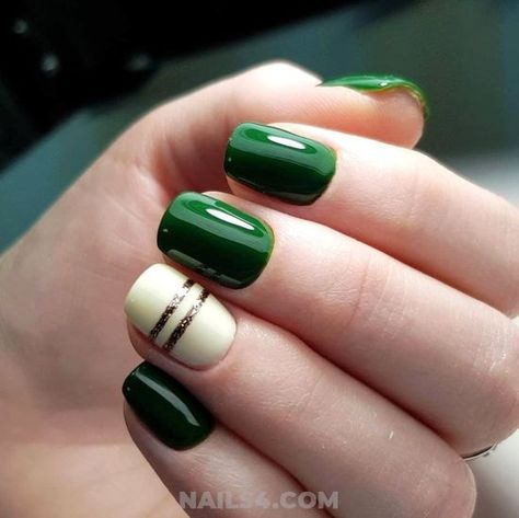 emerald/white fall nails with gold accents