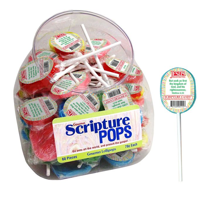 Gourmet Scripture Pops Buy them individually or by the jar. Flavors include: cherry, cotton candy, bubble gum, sour apple, and banana berry.