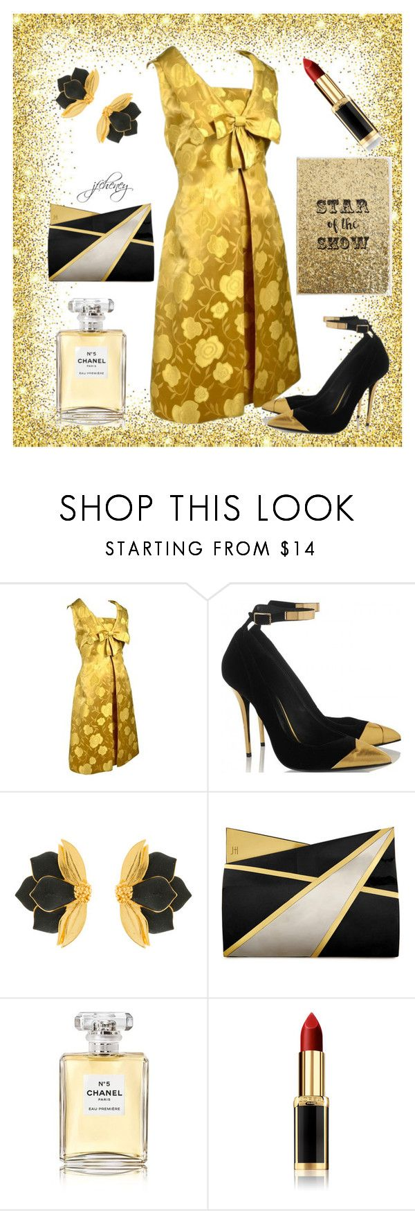 """Star of the Show"" by jfcheney ❤ liked on Polyvore featuring Oscar de la Renta, Jill Haber, Chanel, L'Oréal Paris and Ashley Stewart"