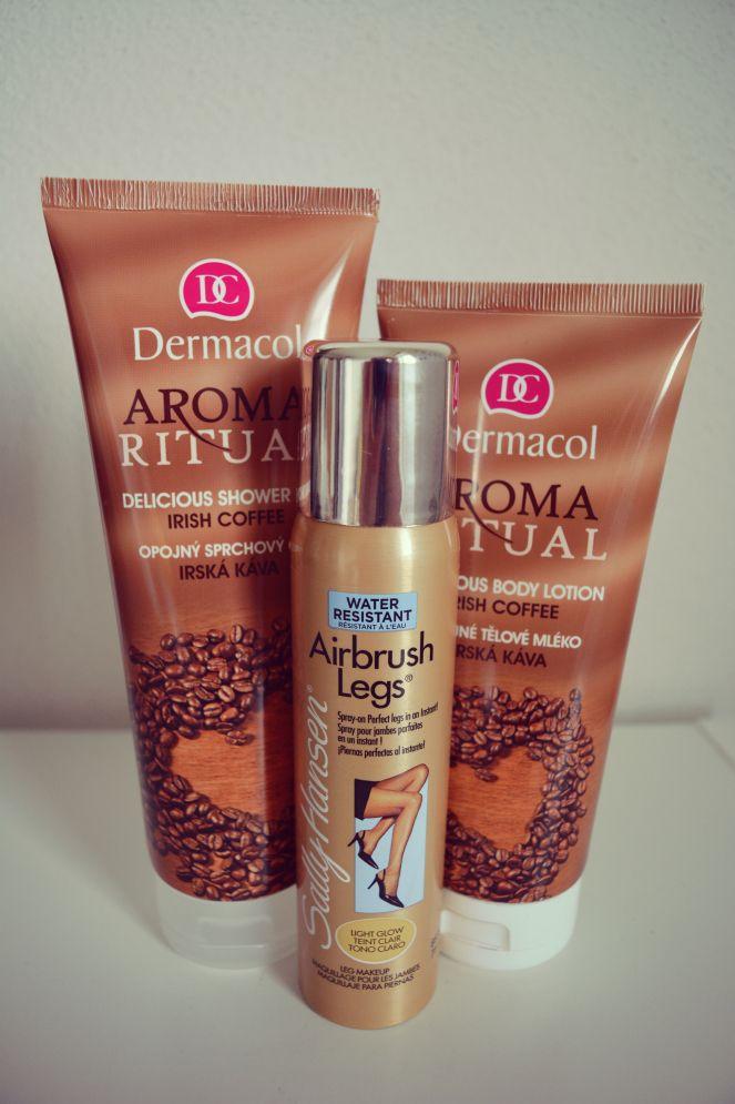 Dermacol, Sally Hansen, Cosmetics, Tips, Favourite, Nice Legs, Airbrush Legs, Irish Coffee, Aromatherapy, Aroma Ritual, Delicious Shower Gel, Delicious Body Lotion